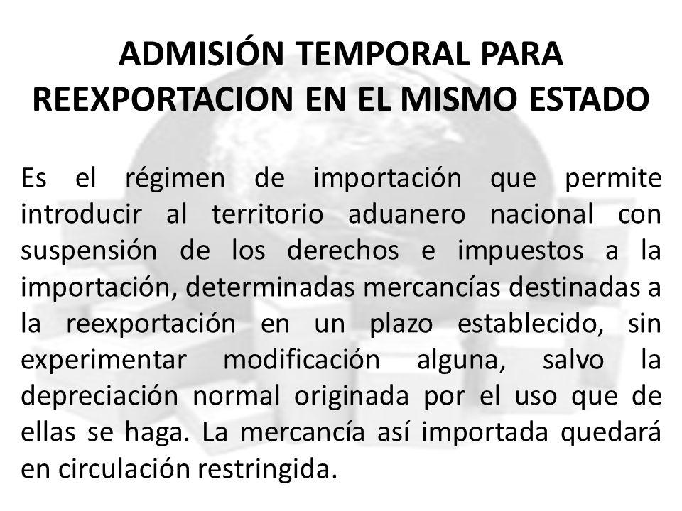 ADMISIÓN TEMPORAL PARA REEXPORTACION EN EL MISMO ESTADO Es el régimen de importación que permite introducir al territorio aduanero nacional con suspen