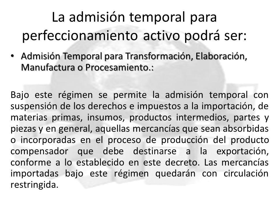 La admisión temporal para perfeccionamiento activo podrá ser: Admisión Temporal para Transformación, Elaboración, Manufactura o Procesamiento.: Admisi