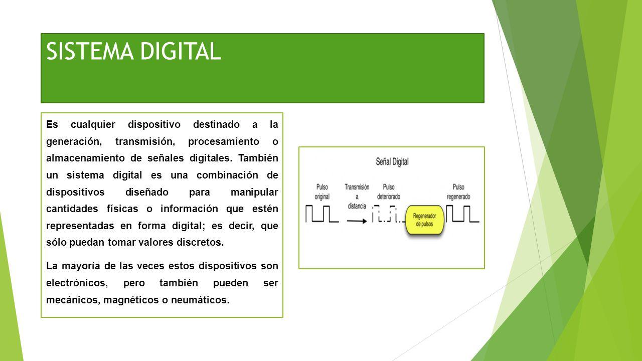 SISTEMA DIGITAL Es cualquier dispositivo destinado a la generación, transmisión, procesamiento o almacenamiento de señales digitales. También un siste