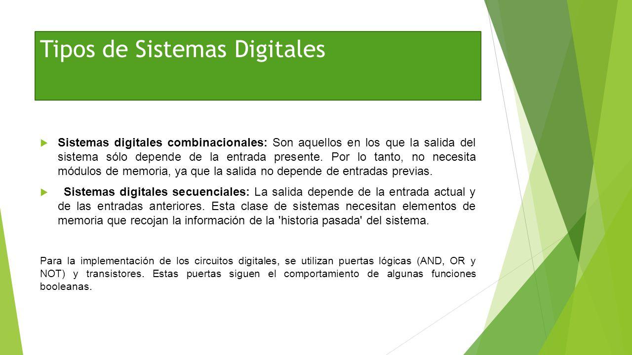 Tipos de Sistemas Digitales Sistemas digitales combinacionales: Son aquellos en los que la salida del sistema sólo depende de la entrada presente. Por