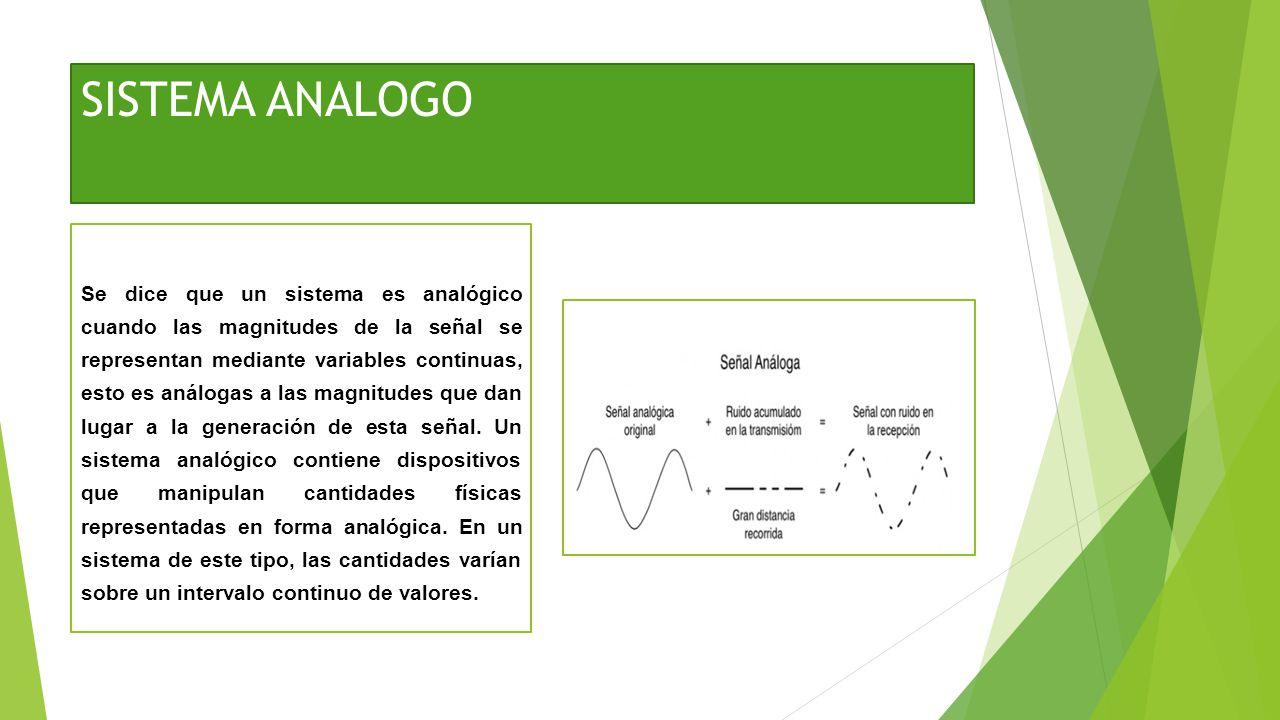 SISTEMA ANALOGO Se dice que un sistema es analógico cuando las magnitudes de la señal se representan mediante variables continuas, esto es análogas a