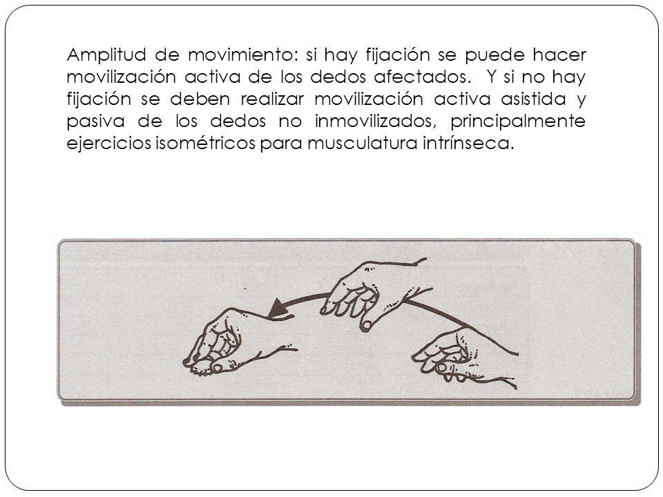 Amplitud de movimiento: si hay fijación se puede hacer movilización activa de los dedos afectados.