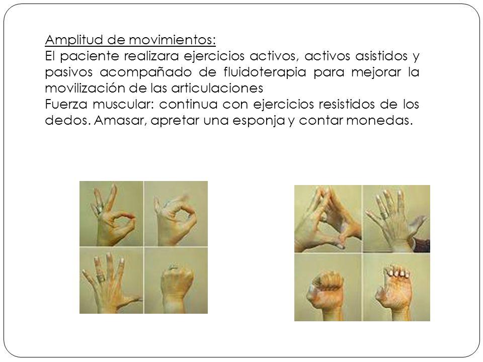 Amplitud de movimientos: El paciente realizara ejercicios activos, activos asistidos y pasivos acompañado de fluidoterapia para mejorar la movilización de las articulaciones Fuerza muscular: continua con ejercicios resistidos de los dedos.