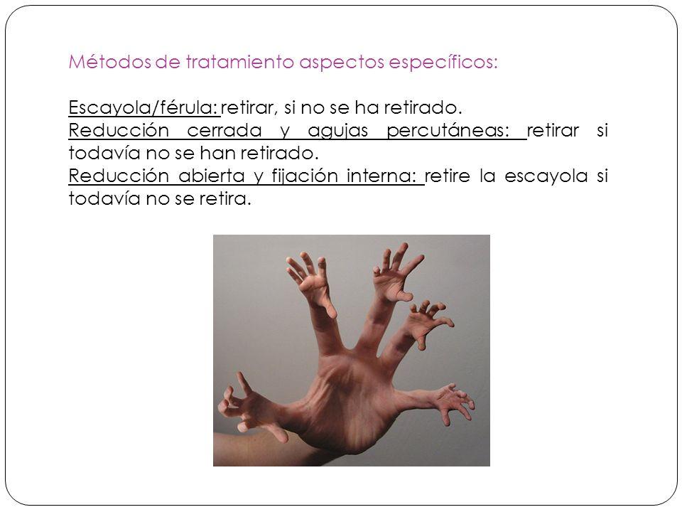 Métodos de tratamiento aspectos específicos: Escayola/férula: retirar, si no se ha retirado.