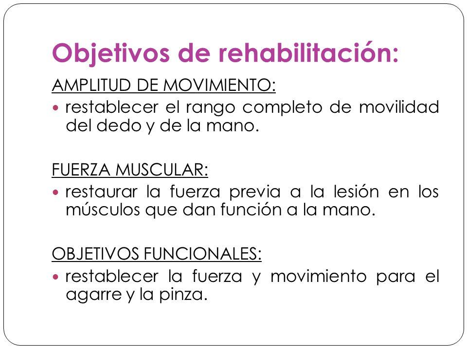 Objetivos de rehabilitación: AMPLITUD DE MOVIMIENTO: restablecer el rango completo de movilidad del dedo y de la mano.