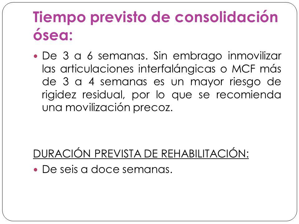 Tiempo previsto de consolidación ósea: De 3 a 6 semanas.