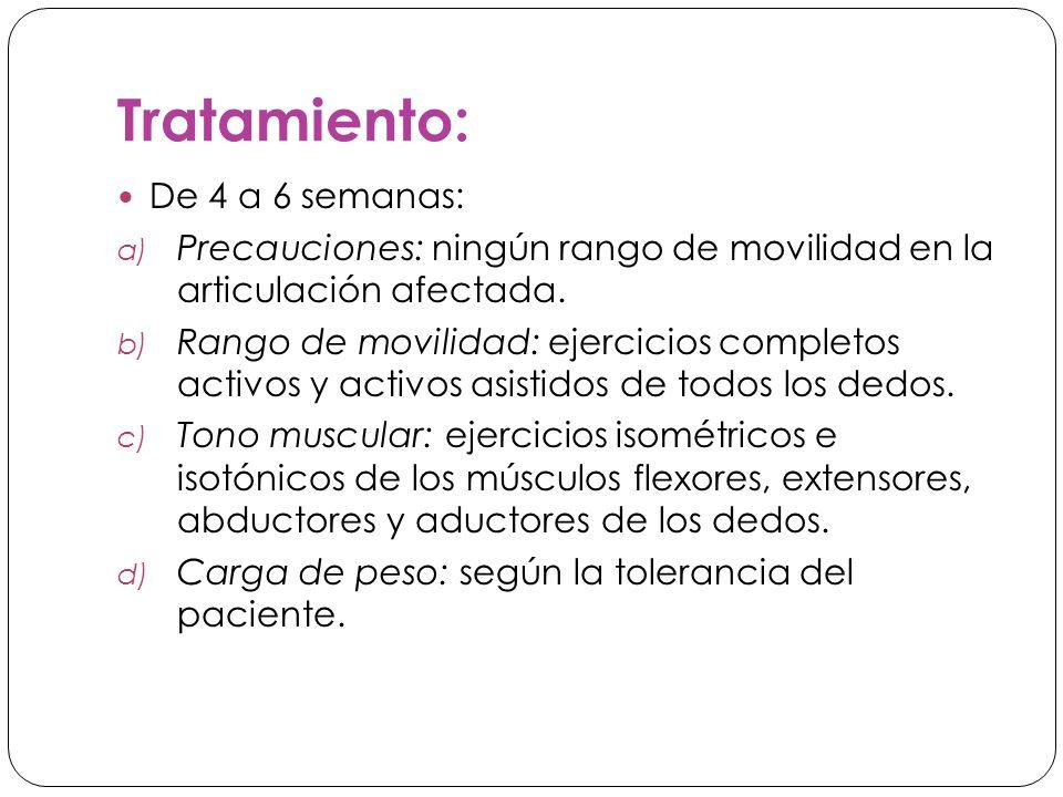 Tratamiento: De 4 a 6 semanas: a) Precauciones: ningún rango de movilidad en la articulación afectada.