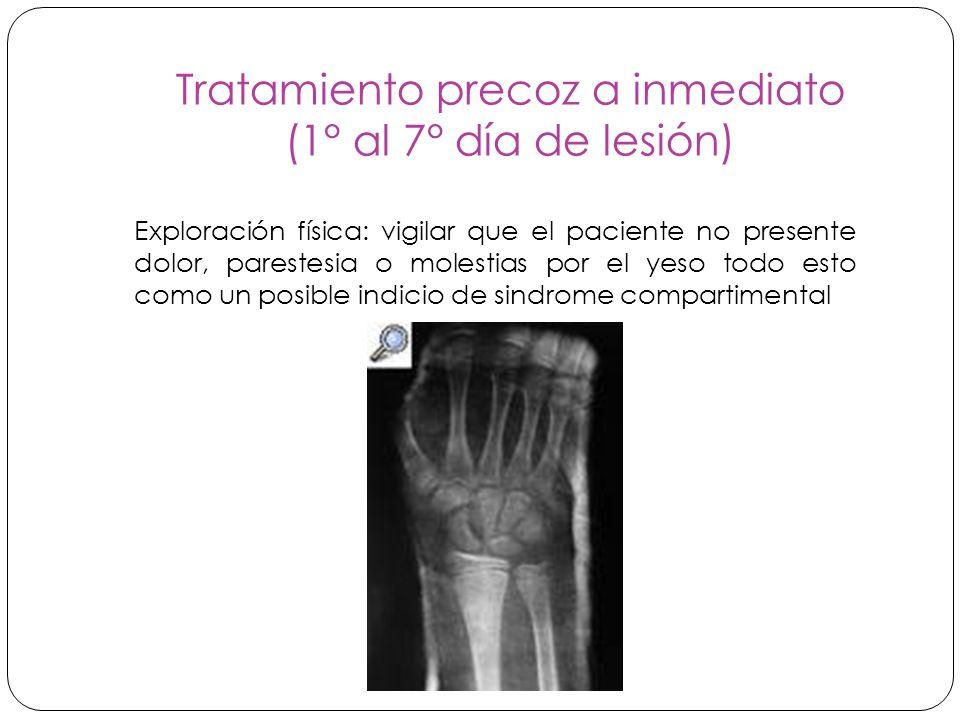 Tratamiento precoz a inmediato (1° al 7° día de lesión) Exploración física: vigilar que el paciente no presente dolor, parestesia o molestias por el yeso todo esto como un posible indicio de sindrome compartimental
