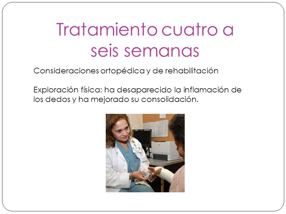 Tratamiento cuatro a seis semanas Consideraciones ortopédica y de rehabilitación Exploración física: ha desaparecido la inflamación de los dedos y ha mejorado su consolidación.