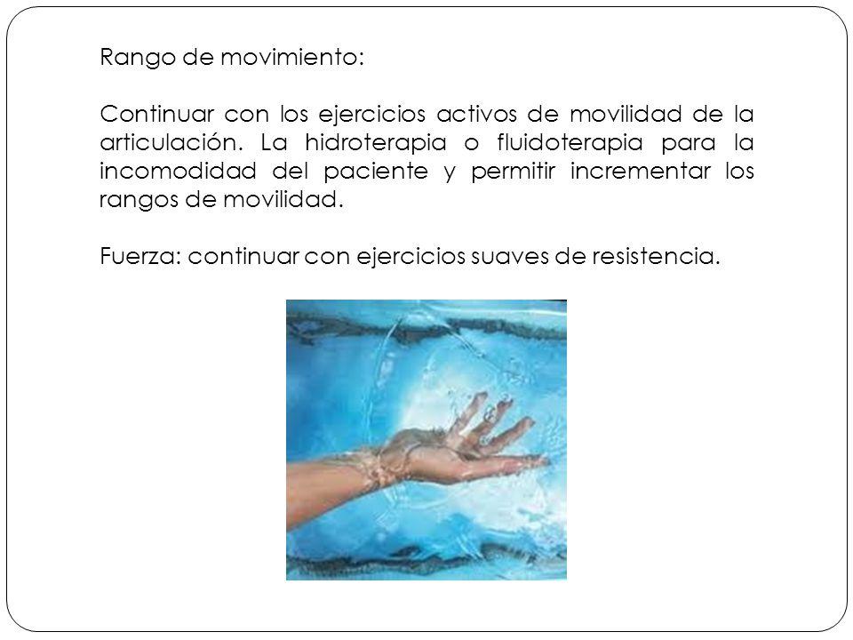 Rango de movimiento: Continuar con los ejercicios activos de movilidad de la articulación.