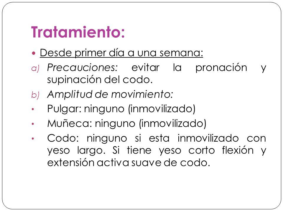Tratamiento: Desde primer día a una semana: a) Precauciones: evitar la pronación y supinación del codo.