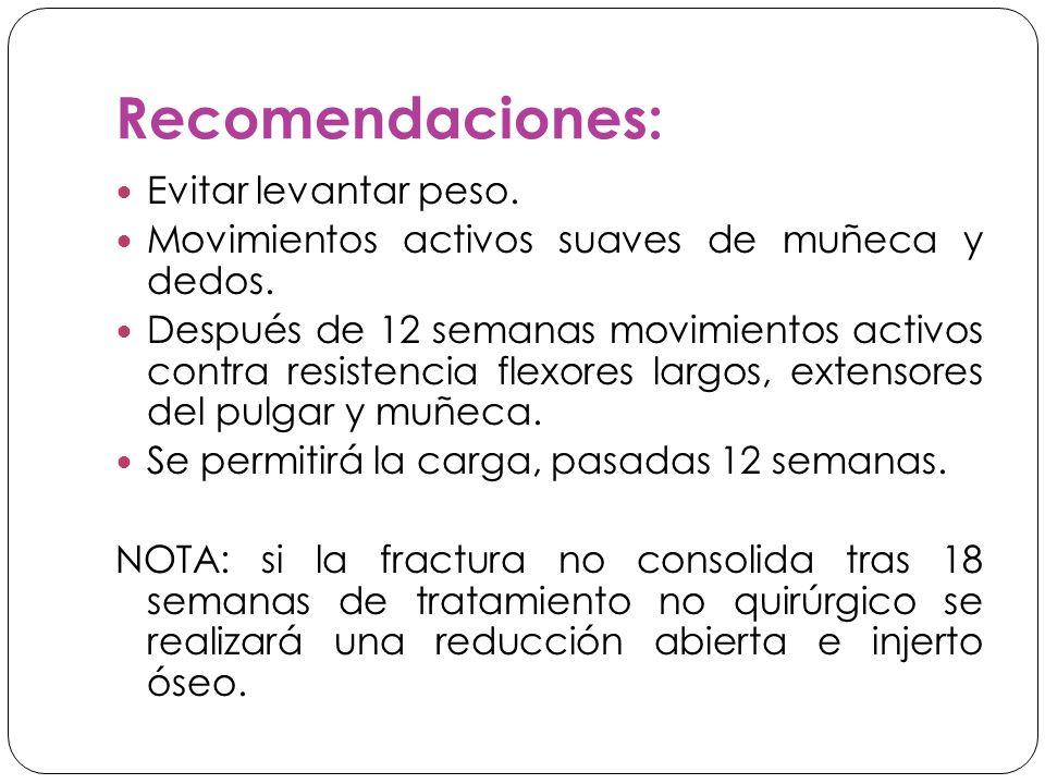 Recomendaciones: Evitar levantar peso.Movimientos activos suaves de muñeca y dedos.