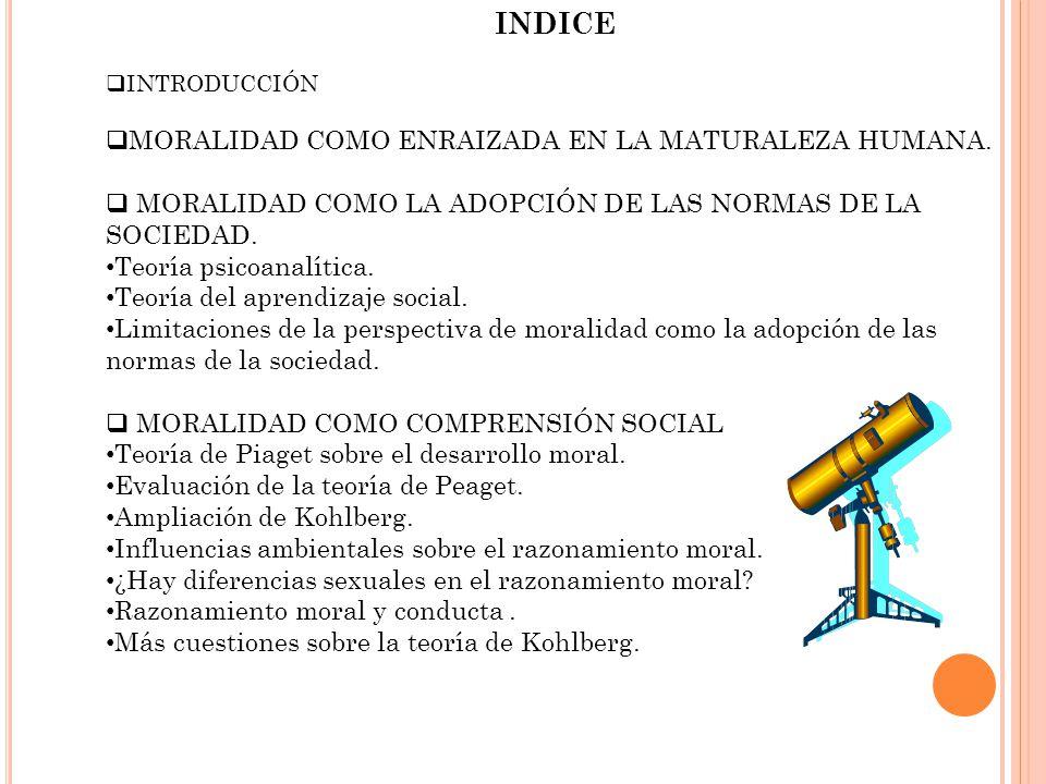 INDICE INTRODUCCIÓN MORALIDAD COMO ENRAIZADA EN LA MATURALEZA HUMANA.