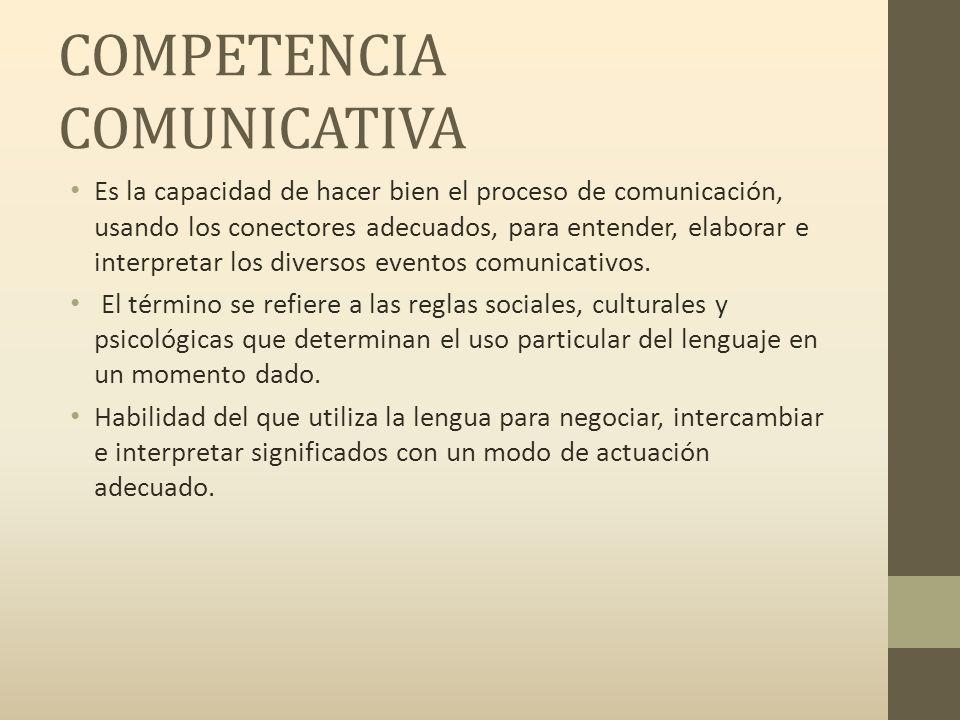 COMPETENCIA COMUNICATIVA Es la capacidad de hacer bien el proceso de comunicación, usando los conectores adecuados, para entender, elaborar e interpretar los diversos eventos comunicativos.