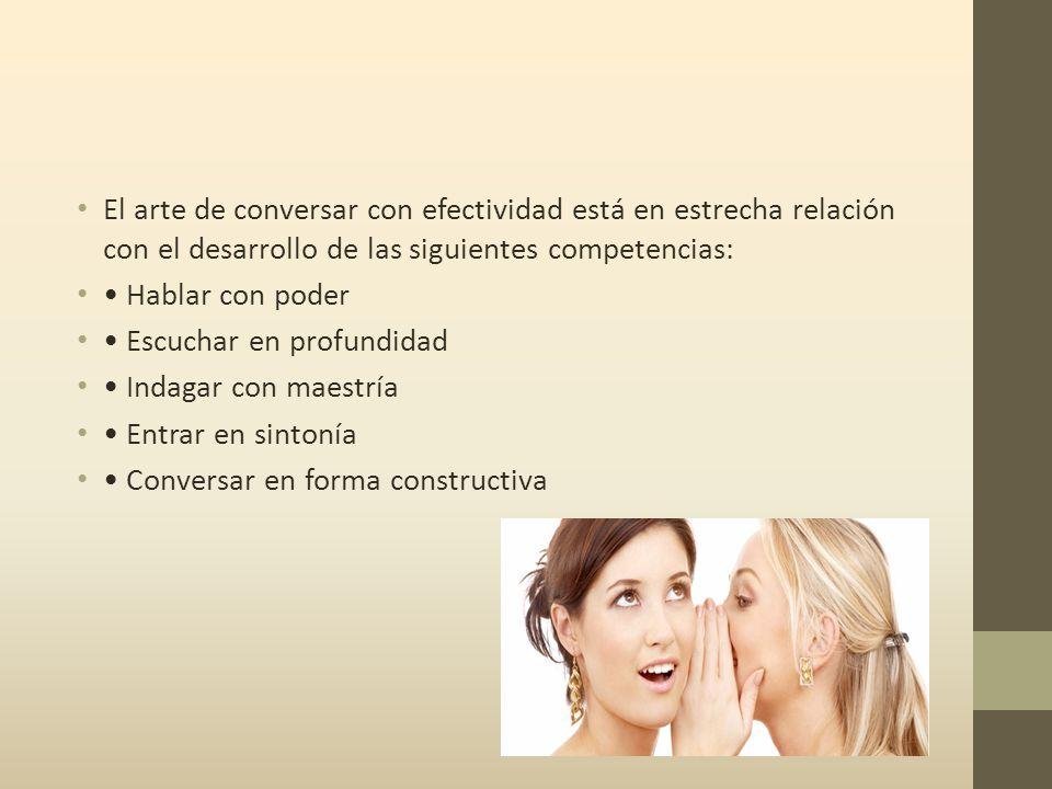 El arte de conversar con efectividad está en estrecha relación con el desarrollo de las siguientes competencias: Hablar con poder Escuchar en profundidad Indagar con maestría Entrar en sintonía Conversar en forma constructiva