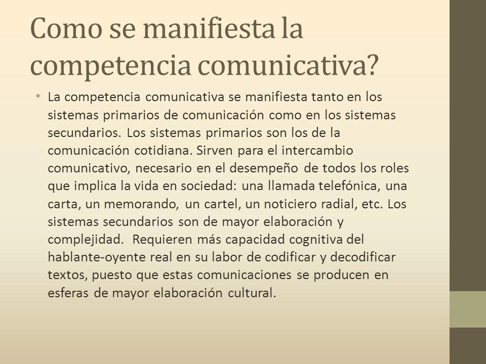 Como se manifiesta la competencia comunicativa.