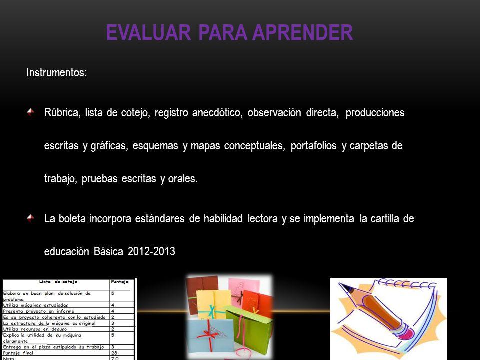 EVALUAR PARA APRENDER Instrumentos: Rúbrica, lista de cotejo, registro anecdótico, observación directa, producciones escritas y gráficas, esquemas y m