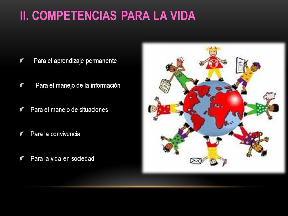 II. COMPETENCIAS PARA LA VIDA Para el aprendizaje permanente Para el manejo de la información Para el manejo de situaciones Para la convivencia Para l