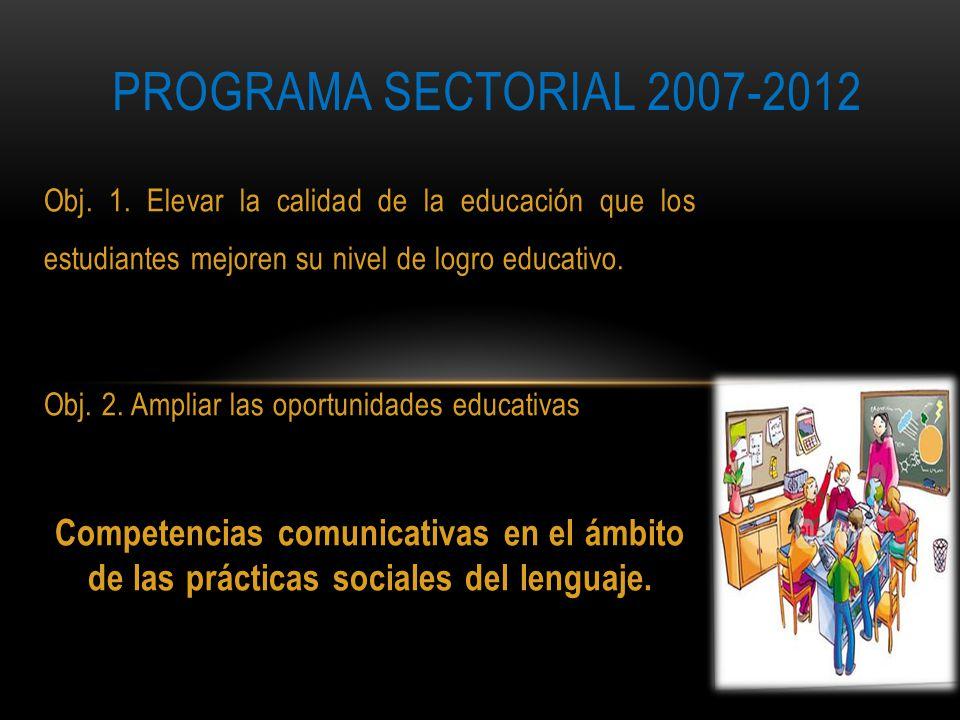 Obj. 1. Elevar la calidad de la educación que los estudiantes mejoren su nivel de logro educativo. Obj. 2. Ampliar las oportunidades educativas Compet