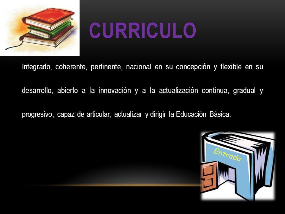 CURRICULO Integrado, coherente, pertinente, nacional en su concepción y flexible en su desarrollo, abierto a la innovación y a la actualización contin