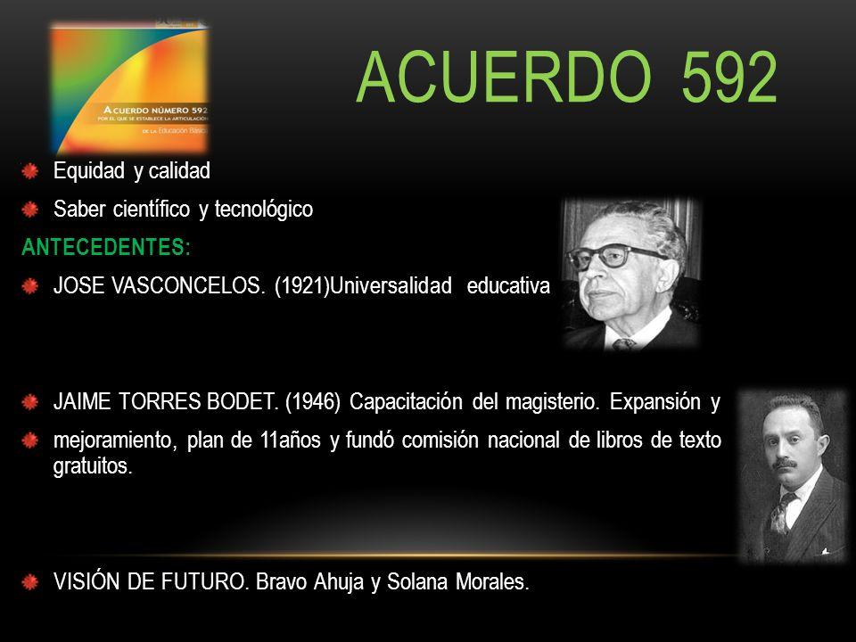 ACUERDO 592 Equidad y calidad Saber científico y tecnológico ANTECEDENTES: JOSE VASCONCELOS. (1921)Universalidad educativa JAIME TORRES BODET. (1946)