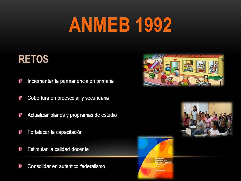 ANMEB 1992 RETOS Incrementar la permanencia en primaria Cobertura en preescolar y secundaria Actualizar planes y programas de estudio Fortalecer la ca