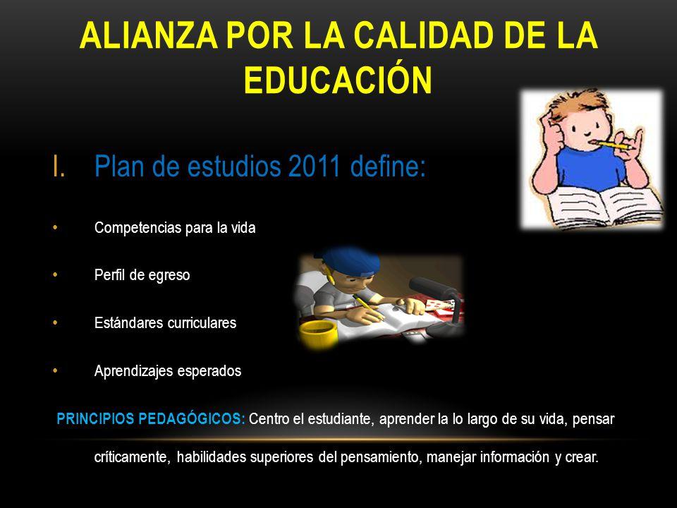 ALIANZA POR LA CALIDAD DE LA EDUCACIÓN I.Plan de estudios 2011 define: Competencias para la vida Perfil de egreso Estándares curriculares Aprendizajes