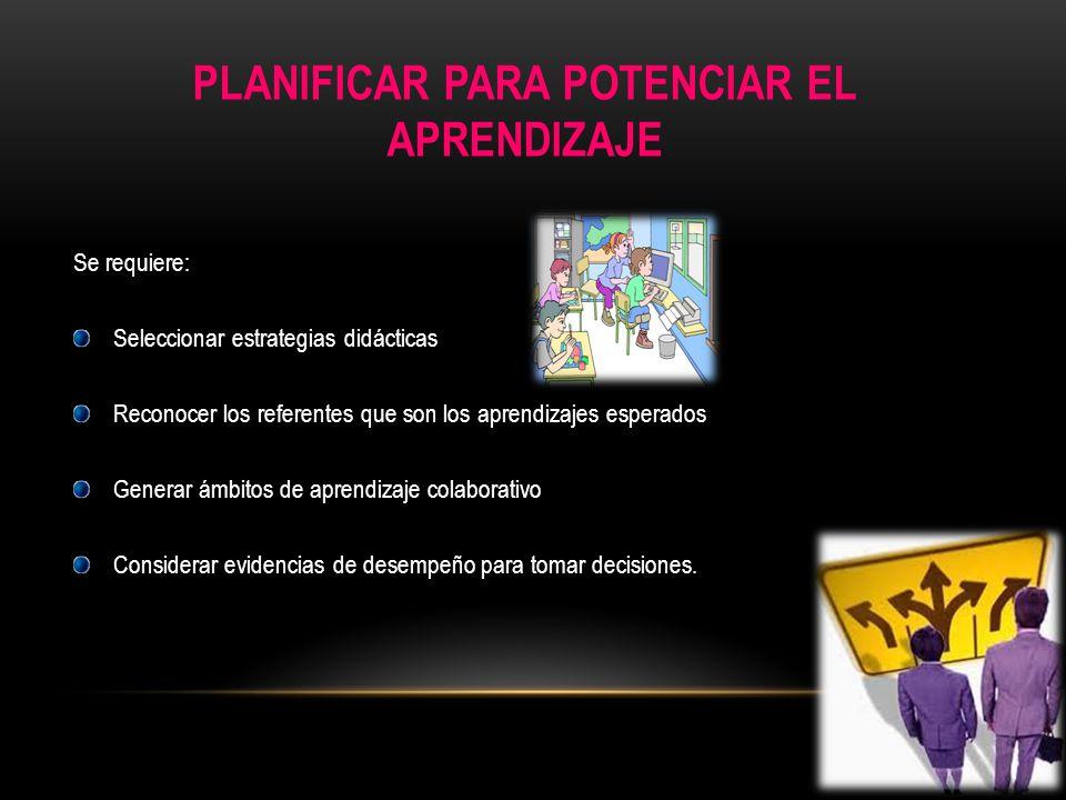 PLANIFICAR PARA POTENCIAR EL APRENDIZAJE Se requiere: Seleccionar estrategias didácticas Reconocer los referentes que son los aprendizajes esperados G