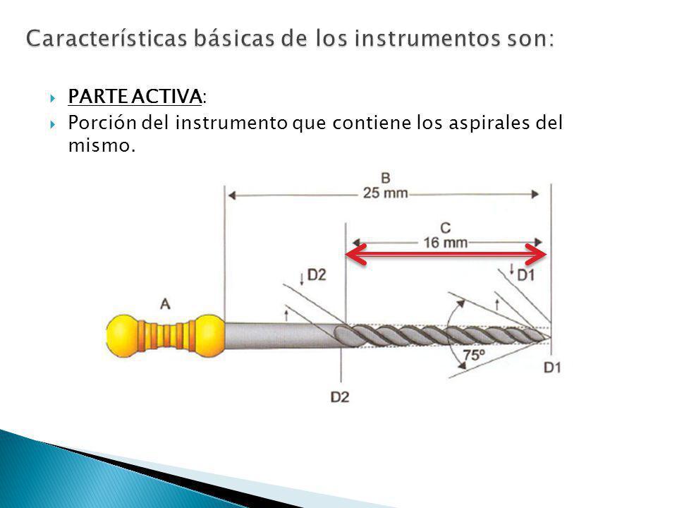 PARTE ACTIVA: Porción del instrumento que contiene los aspirales del mismo.
