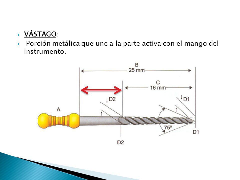 VÁSTAGO: Porción metálica que une a la parte activa con el mango del instrumento.
