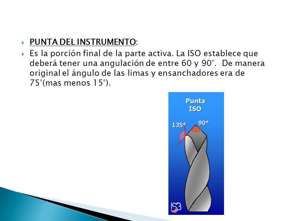 PUNTA DEL INSTRUMENTO: Es la porción final de la parte activa. La ISO establece que deberá tener una angulación de entre 60 y 90°. De manera original