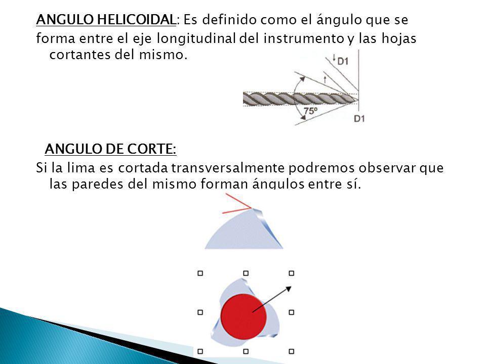 ANGULO HELICOIDAL: Es definido como el ángulo que se forma entre el eje longitudinal del instrumento y las hojas cortantes del mismo. ANGULO DE CORTE: