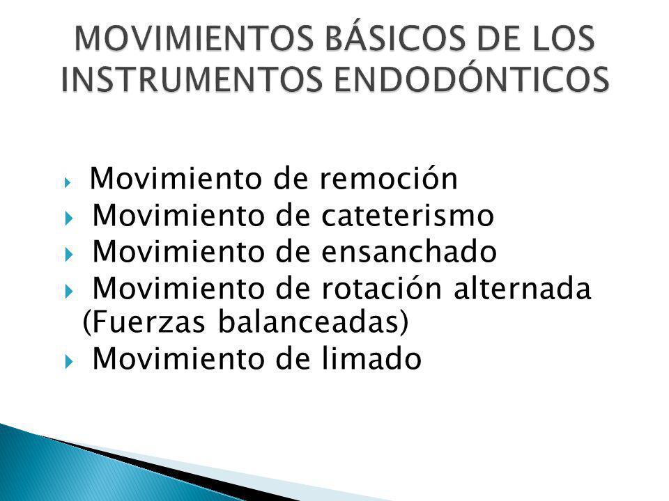 Movimiento de remoción Movimiento de cateterismo Movimiento de ensanchado Movimiento de rotación alternada (Fuerzas balanceadas) Movimiento de limado