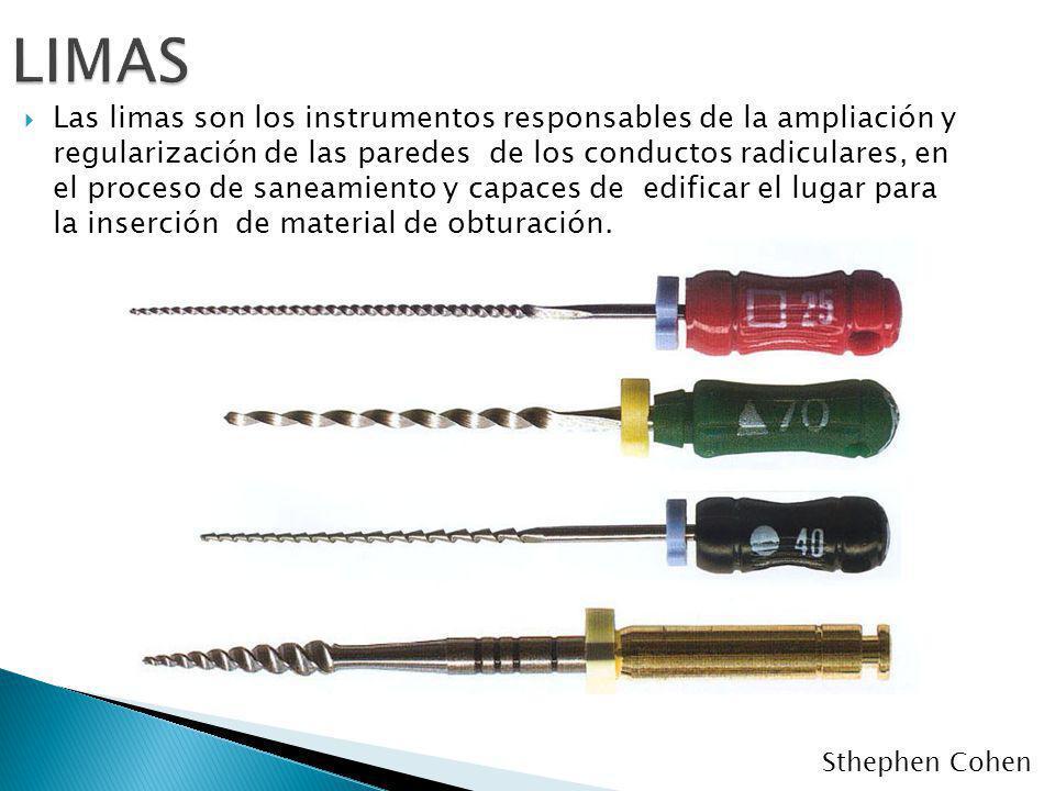 Las limas son los instrumentos responsables de la ampliación y regularización de las paredes de los conductos radiculares, en el proceso de saneamient