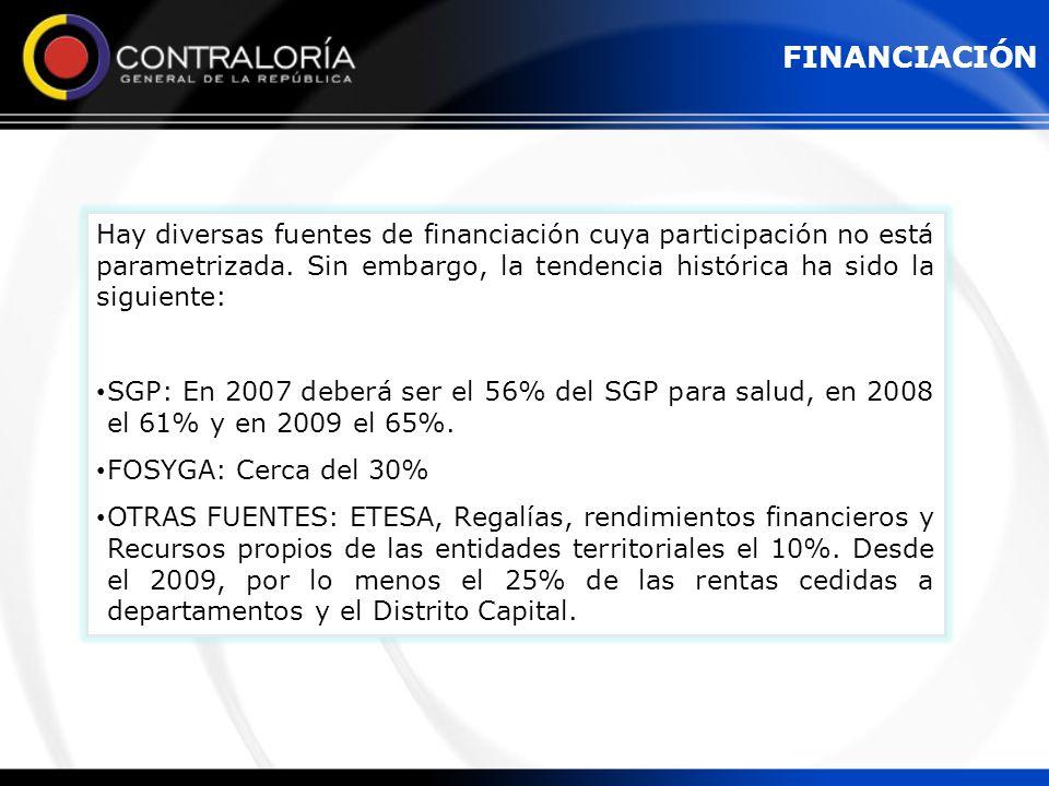 Hay diversas fuentes de financiación cuya participación no está parametrizada. Sin embargo, la tendencia histórica ha sido la siguiente: SGP: En 2007