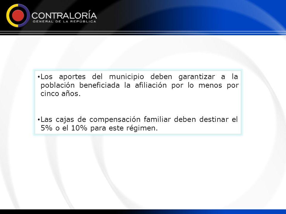 Los aportes del municipio deben garantizar a la población beneficiada la afiliación por lo menos por cinco años. Las cajas de compensación familiar de