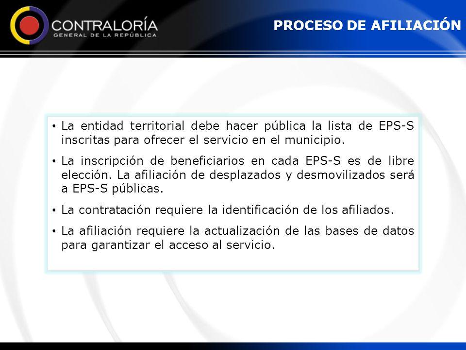 La entidad territorial debe hacer pública la lista de EPS-S inscritas para ofrecer el servicio en el municipio. La inscripción de beneficiarios en cad