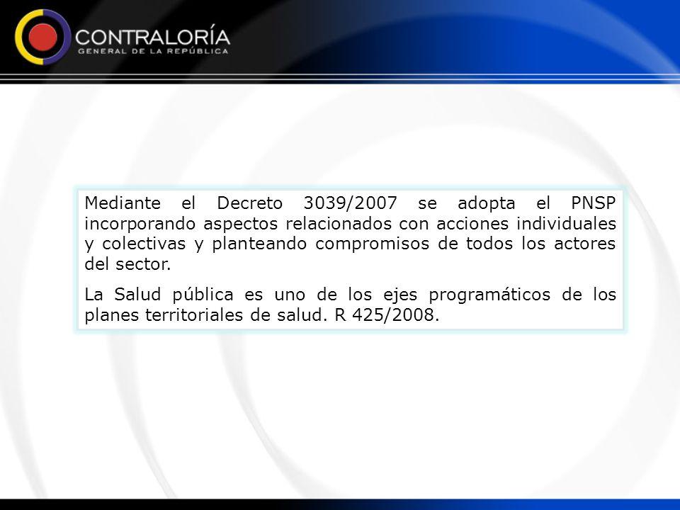 Mediante el Decreto 3039/2007 se adopta el PNSP incorporando aspectos relacionados con acciones individuales y colectivas y planteando compromisos de