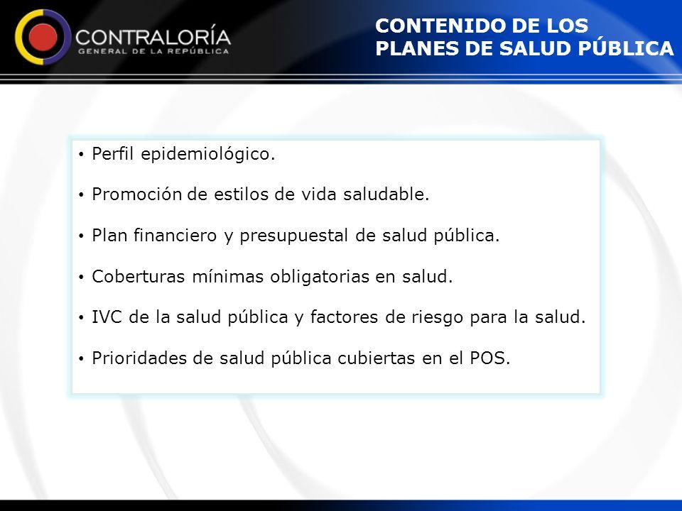 CONTENIDO DE LOS PLANES DE SALUD PÚBLICA Perfil epidemiológico. Promoción de estilos de vida saludable. Plan financiero y presupuestal de salud públic