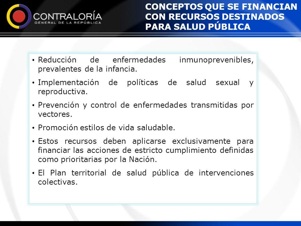 Reducción de enfermedades inmunoprevenibles, prevalentes de la infancia. Implementación de políticas de salud sexual y reproductiva. Prevención y cont