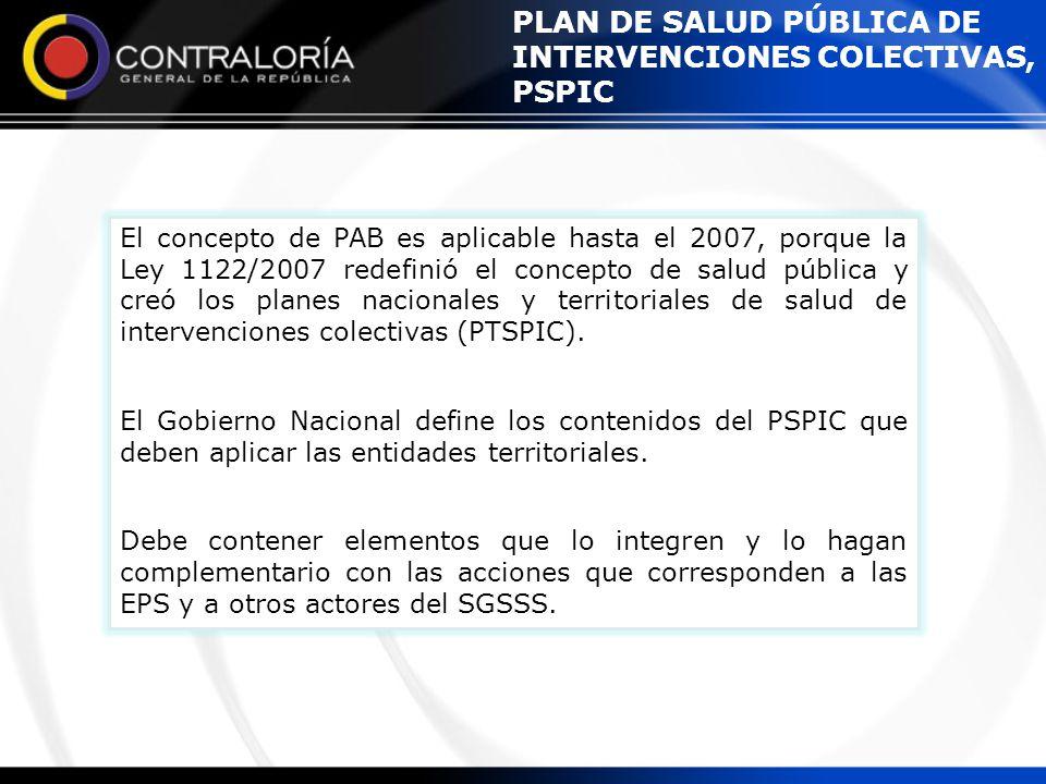 PLAN DE SALUD PÚBLICA DE INTERVENCIONES COLECTIVAS, PSPIC El concepto de PAB es aplicable hasta el 2007, porque la Ley 1122/2007 redefinió el concepto