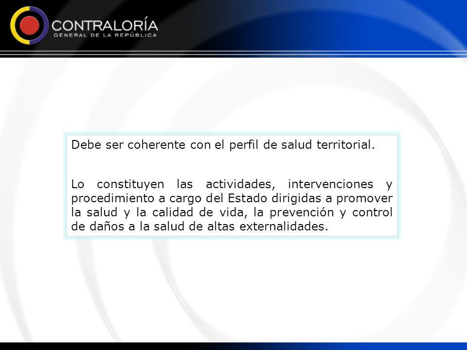 Debe ser coherente con el perfil de salud territorial. Lo constituyen las actividades, intervenciones y procedimiento a cargo del Estado dirigidas a p