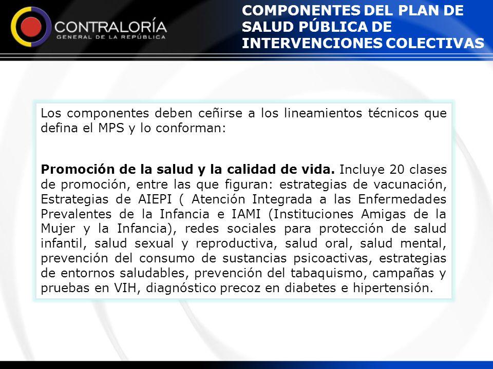 COMPONENTES DEL PLAN DE SALUD PÚBLICA DE INTERVENCIONES COLECTIVAS Los componentes deben ceñirse a los lineamientos técnicos que defina el MPS y lo co