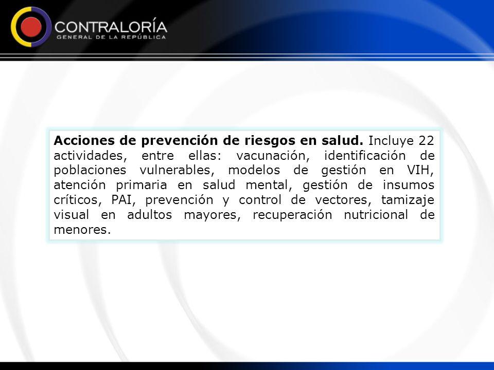 Acciones de prevención de riesgos en salud. Incluye 22 actividades, entre ellas: vacunación, identificación de poblaciones vulnerables, modelos de ges