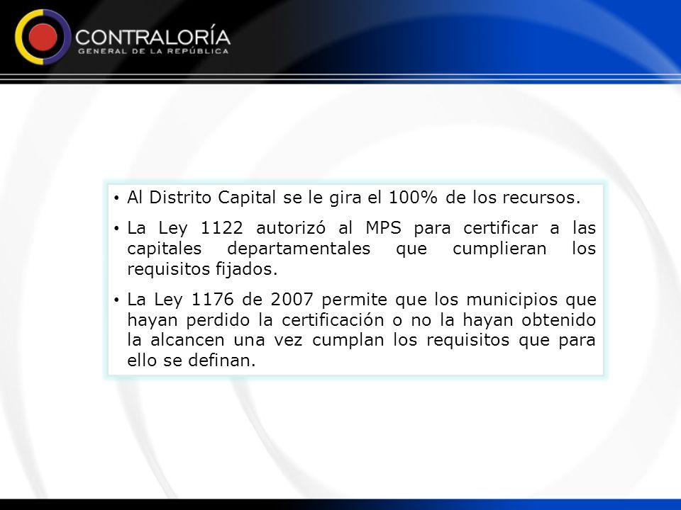 Al Distrito Capital se le gira el 100% de los recursos. La Ley 1122 autorizó al MPS para certificar a las capitales departamentales que cumplieran los