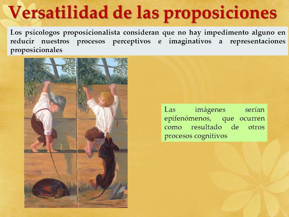 Los psicologos proposicionalista consideran que no hay impedimento alguno en reducir nuestros procesos perceptivos e imaginativos a representaciones p