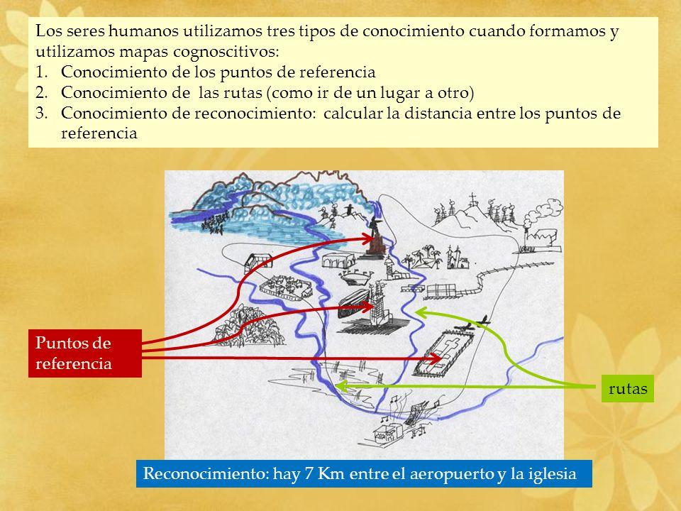 Los seres humanos utilizamos tres tipos de conocimiento cuando formamos y utilizamos mapas cognoscitivos: 1.Conocimiento de los puntos de referencia 2