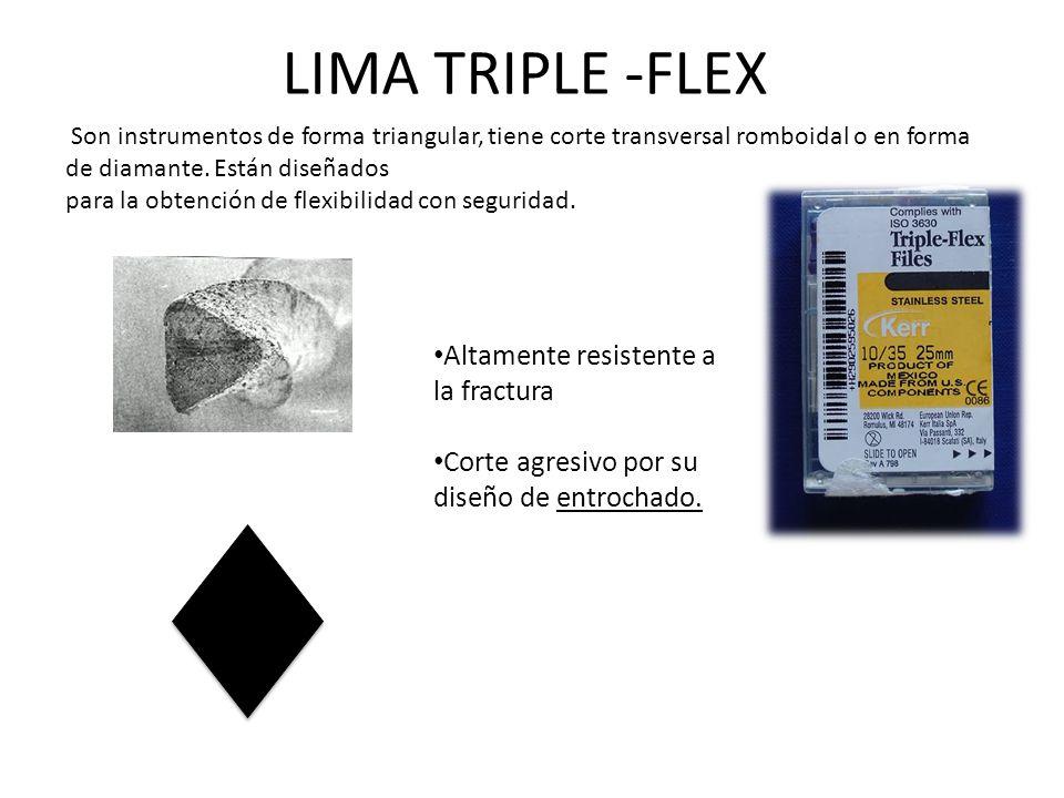 LIMA TRIPLE -FLEX Son instrumentos de forma triangular, tiene corte transversal romboidal o en forma de diamante.