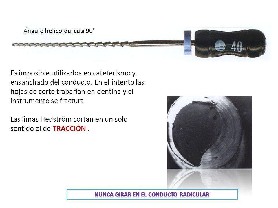 Ángulo helicoidal casi 90° Es imposible utilizarlos en cateterismo y ensanchado del conducto.