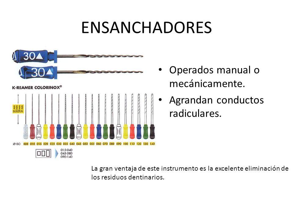 ENSANCHADORES Operados manual o mecánicamente.Agrandan conductos radiculares.
